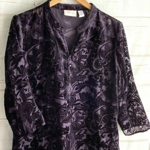 Chico's Pullover Tunic Top sz 2 Large Purple